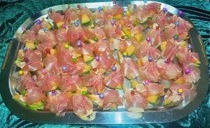 Schinken-Melone-Spieße